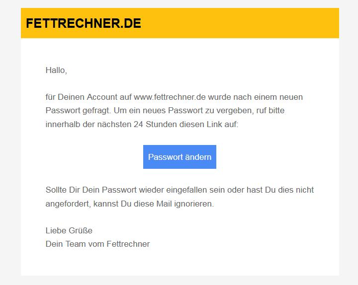 e-Mail zur Passwortvergabe